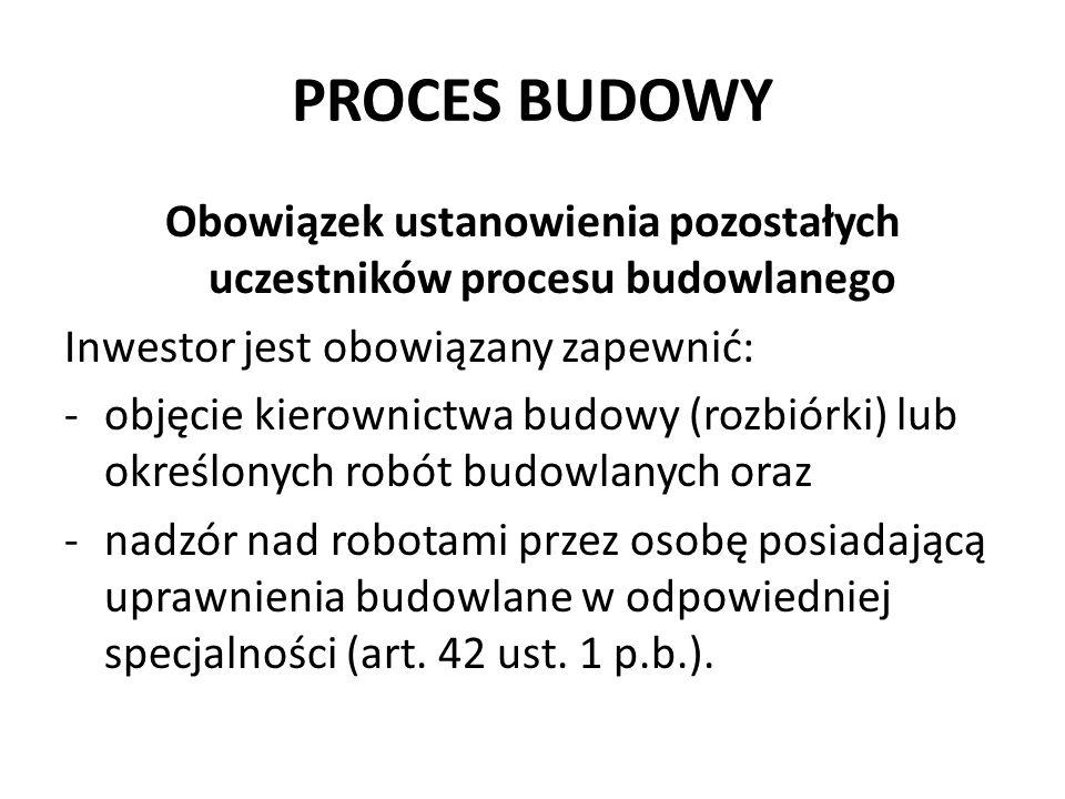 Obowiązek ustanowienia pozostałych uczestników procesu budowlanego
