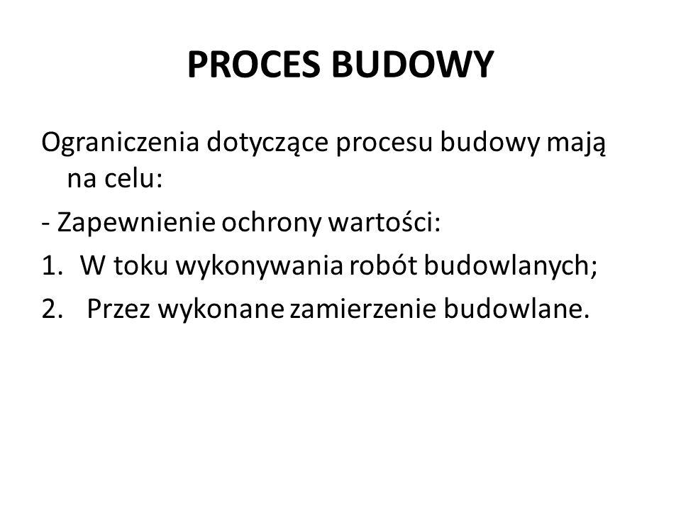 PROCES BUDOWY Ograniczenia dotyczące procesu budowy mają na celu: