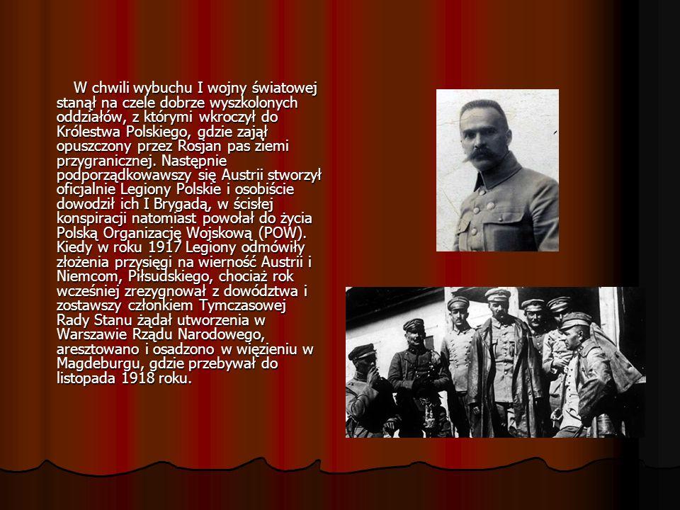 W chwili wybuchu I wojny światowej stanął na czele dobrze wyszkolonych oddziałów, z którymi wkroczył do Królestwa Polskiego, gdzie zajął opuszczony przez Rosjan pas ziemi przygranicznej.
