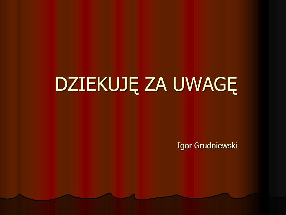 DZIEKUJĘ ZA UWAGĘ Igor Grudniewski