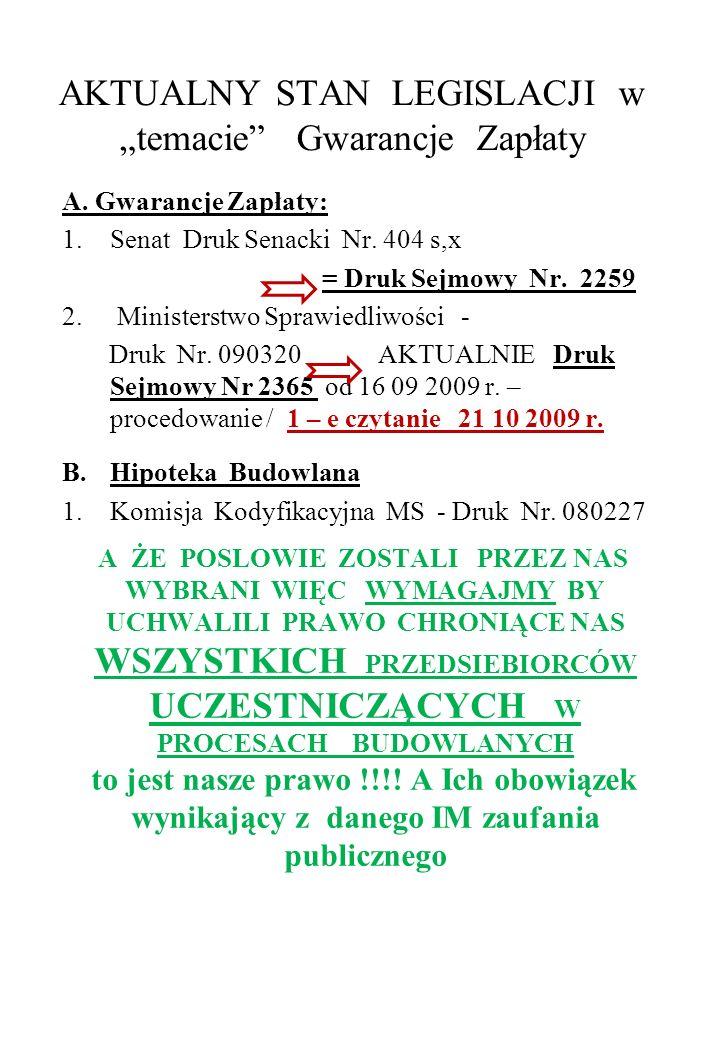 """AKTUALNY STAN LEGISLACJI w """"temacie Gwarancje Zapłaty"""