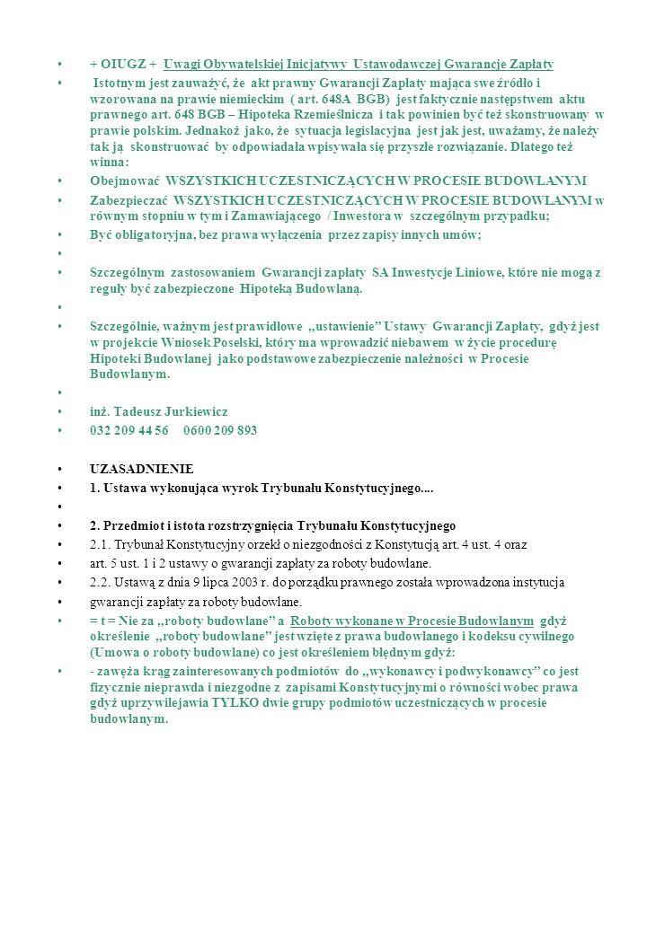 + OIUGZ + Uwagi Obywatelskiej Inicjatywy Ustawodawczej Gwarancje Zapłaty