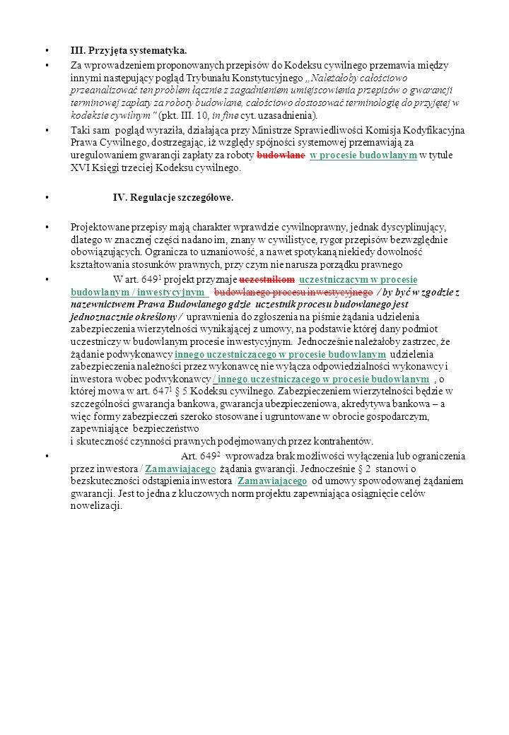III. Przyjęta systematyka.
