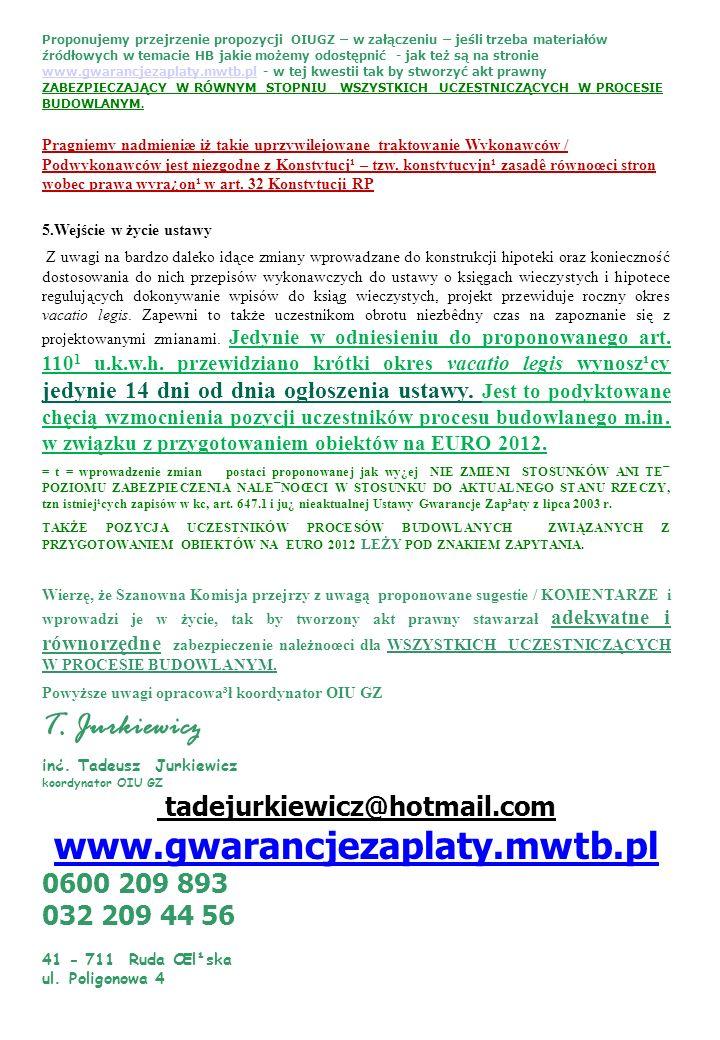 www.gwarancjezaplaty.mwtb.pl T. Jurkiewicz tadejurkiewicz@hotmail.com