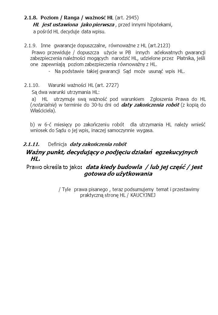 2.1.8. Poziom / Ranga / ważność HL (art. 2945)