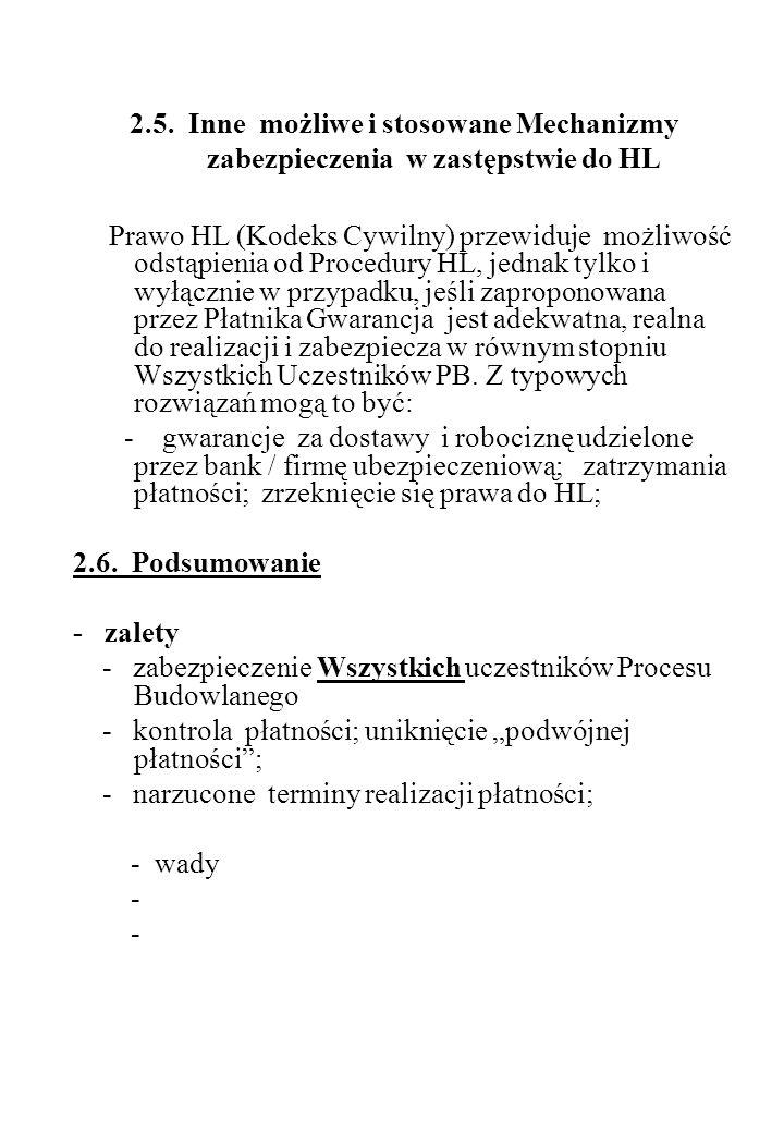 2.5. Inne możliwe i stosowane Mechanizmy zabezpieczenia w zastępstwie do HL