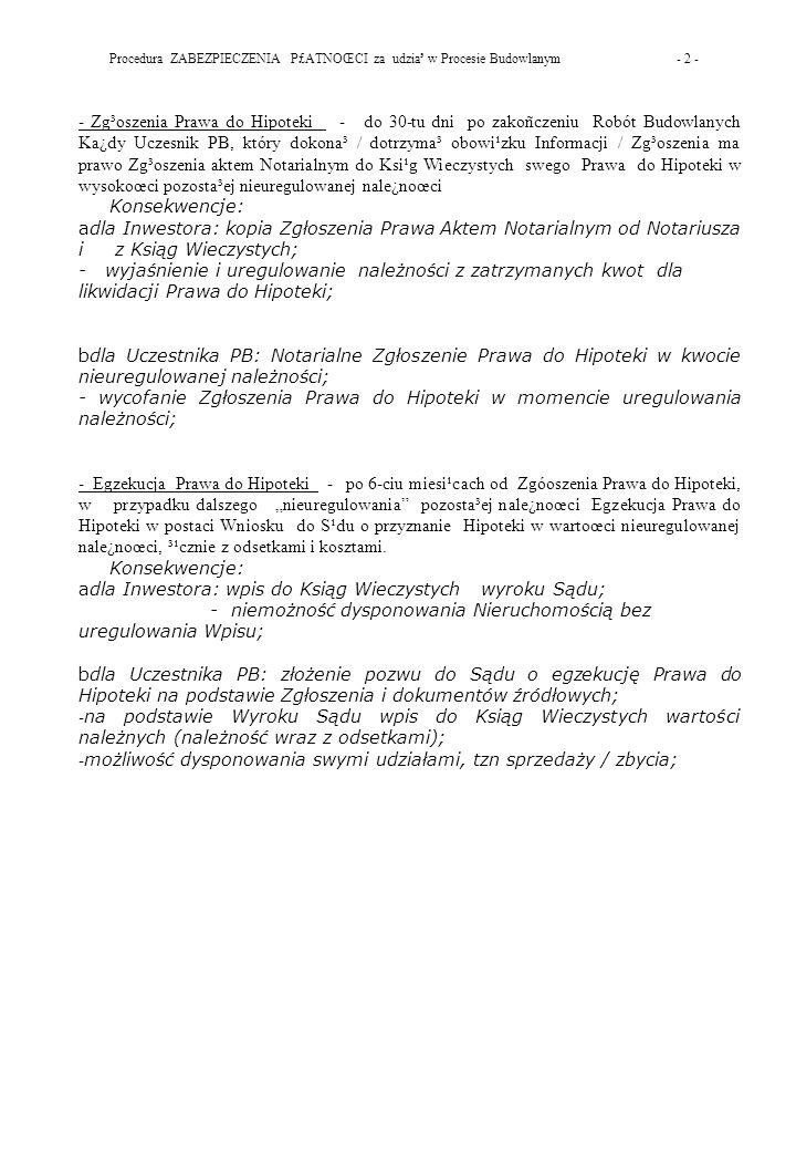 Procedura ZABEZPIECZENIA P£ATNOŒCI za udzia³ w Procesie Budowlanym - 2 -