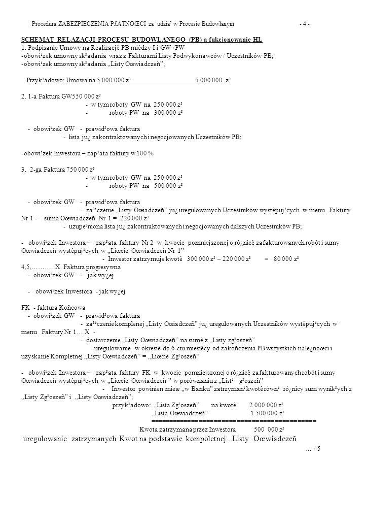 Procedura ZABEZPIECZENIA P£ATNOŒCI za udzia³ w Procesie Budowlanym - 4 -