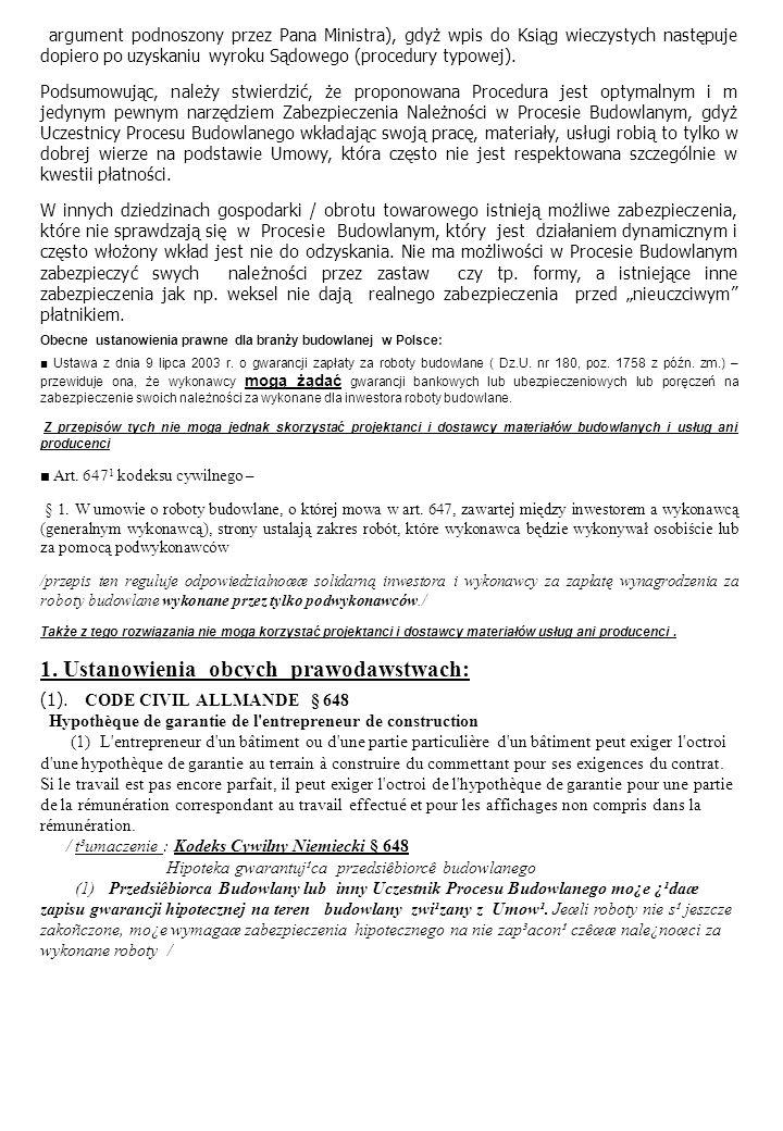 1. Ustanowienia obcych prawodawstwach: