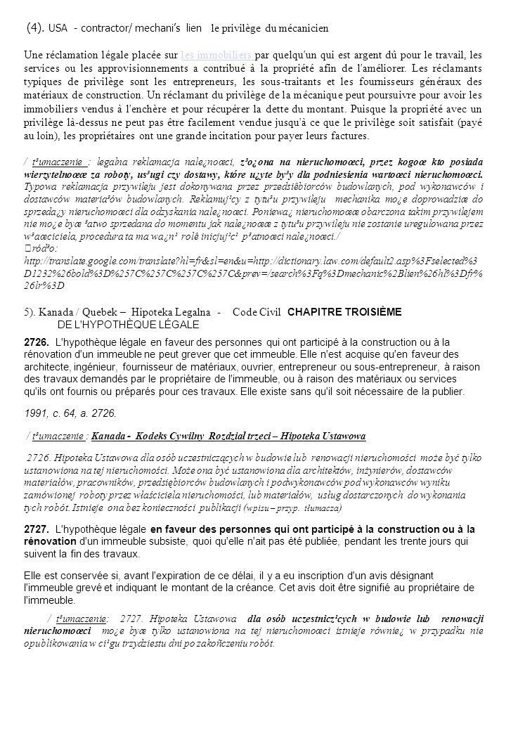 5). Kanada / Quebek – Hipoteka Legalna - Code Civil CHAPITRE TROISIÈME
