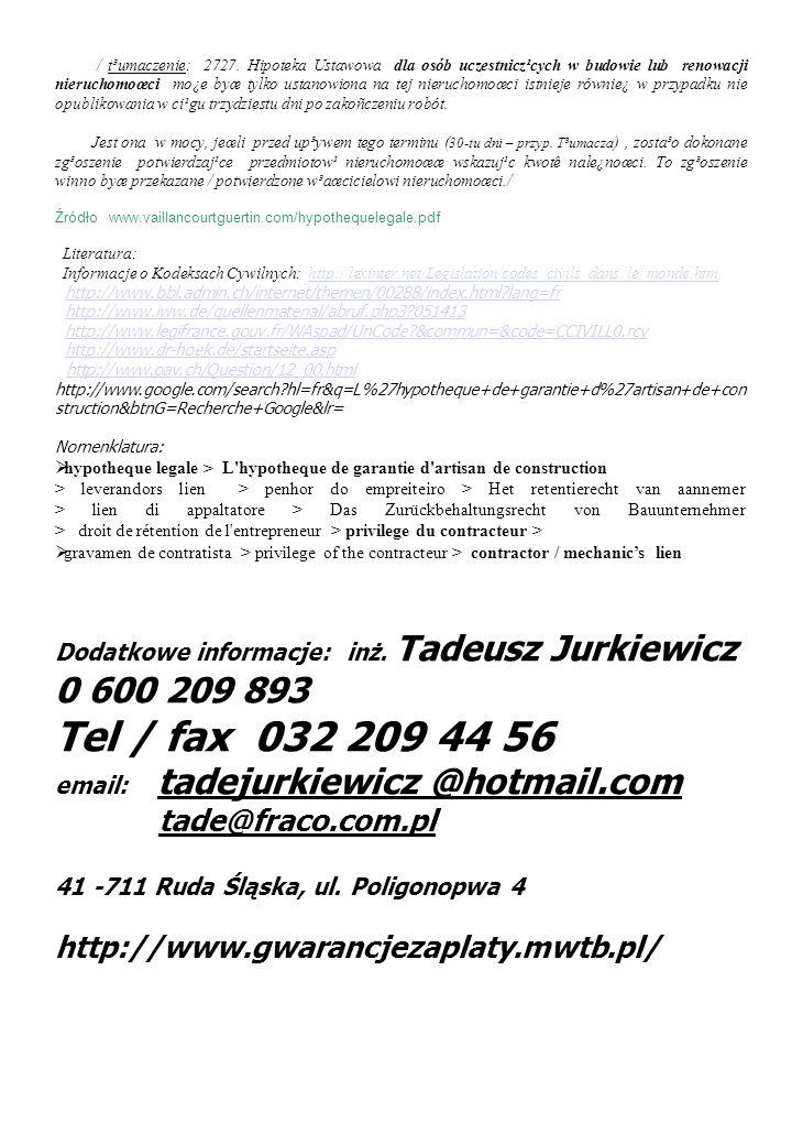 Tel / fax 032 209 44 56 tade@fraco.com.pl