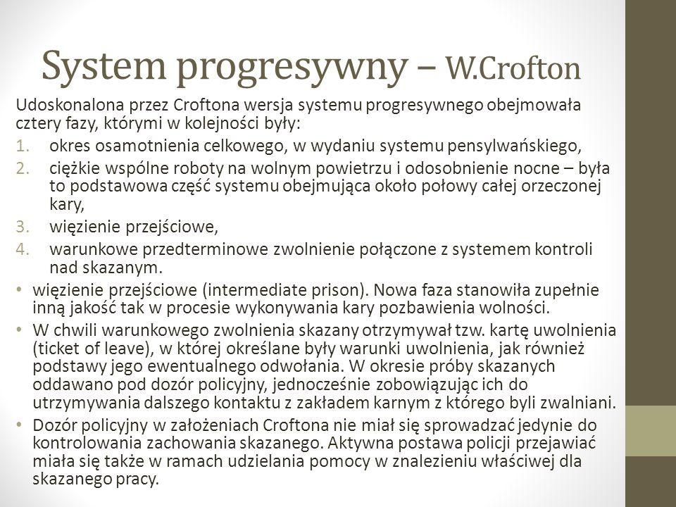 System progresywny – W.Crofton