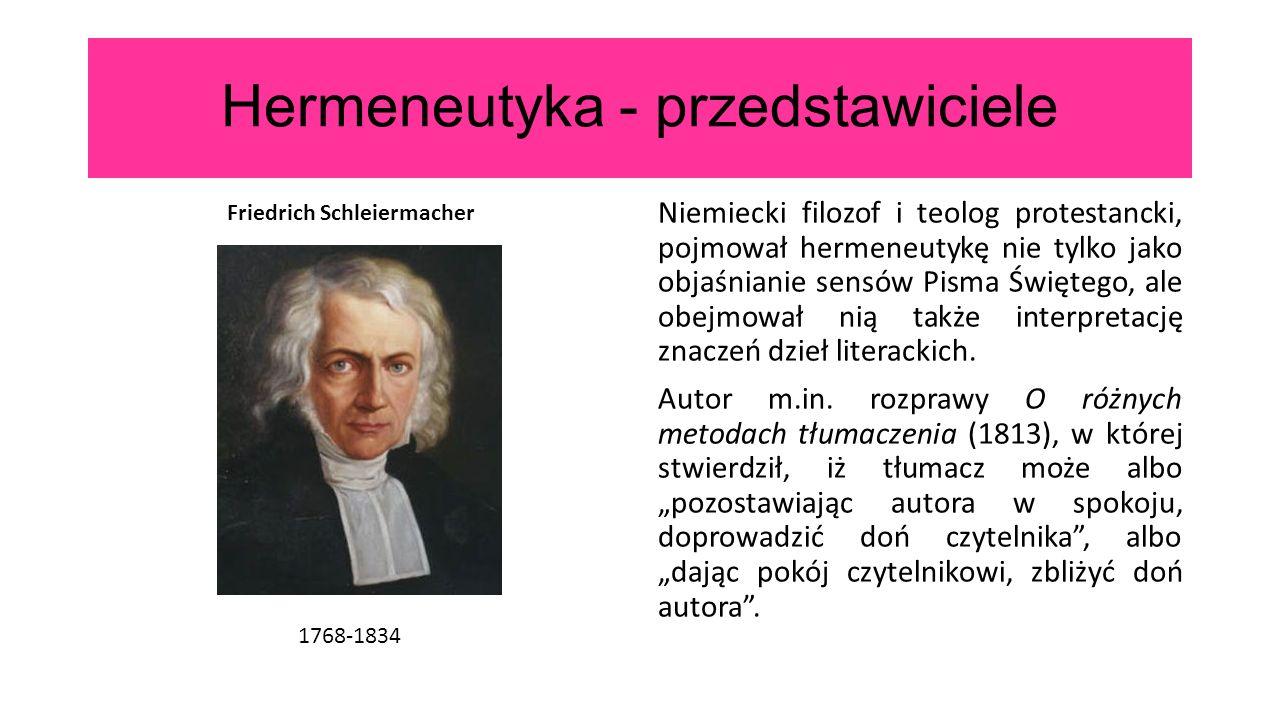 Hermeneutyka - przedstawiciele