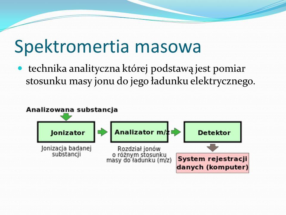 Spektromertia masowa technika analityczna której podstawą jest pomiar stosunku masy jonu do jego ładunku elektrycznego.