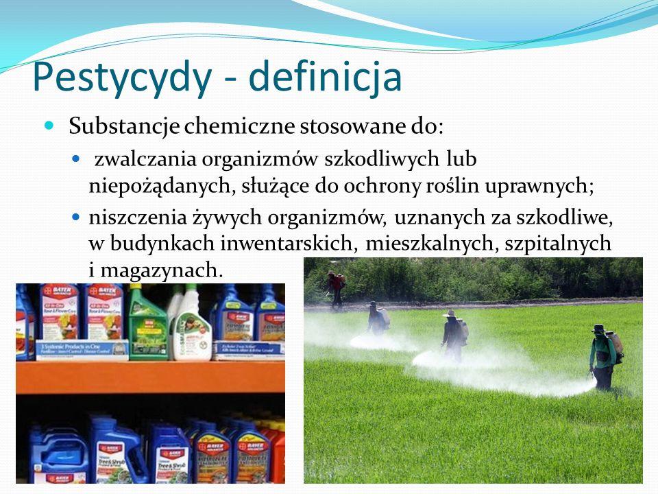 Pestycydy - definicja Substancje chemiczne stosowane do:
