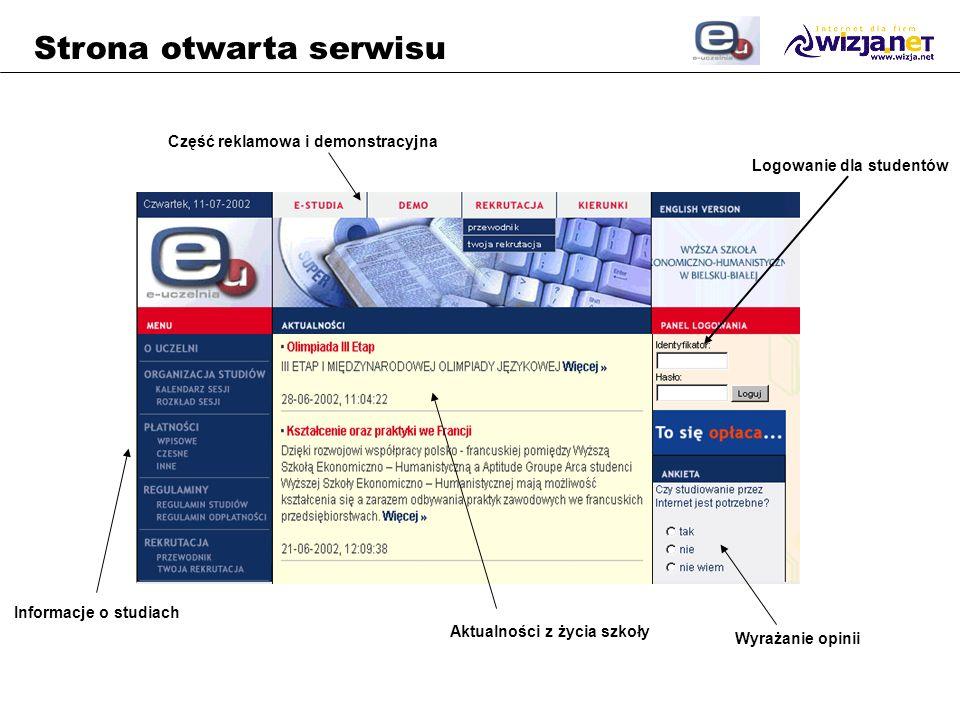 Strona otwarta serwisu