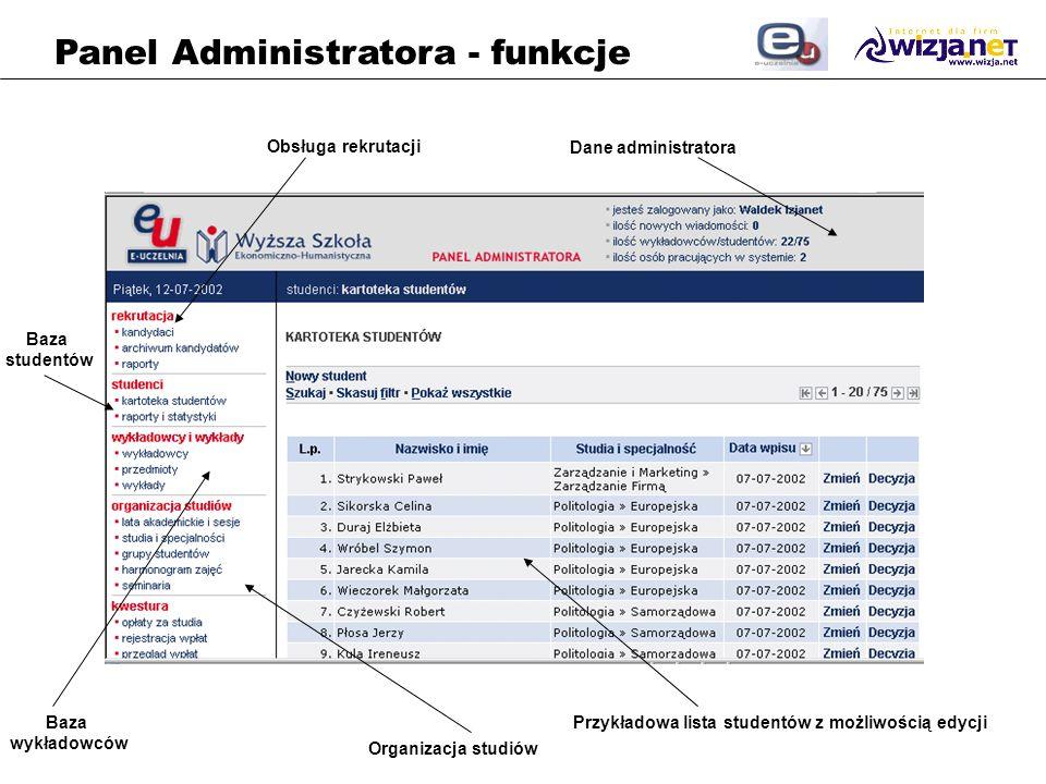 Przykładowa lista studentów z możliwością edycji