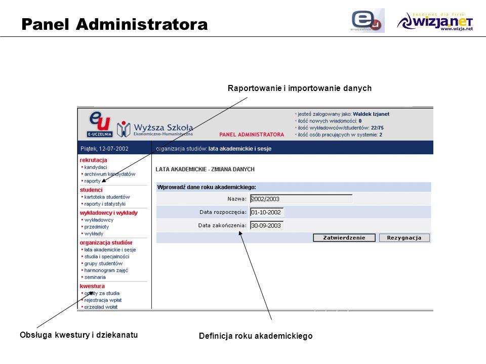 Panel Administratora Raportowanie i importowanie danych