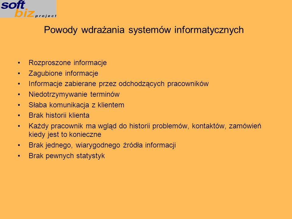 Powody wdrażania systemów informatycznych
