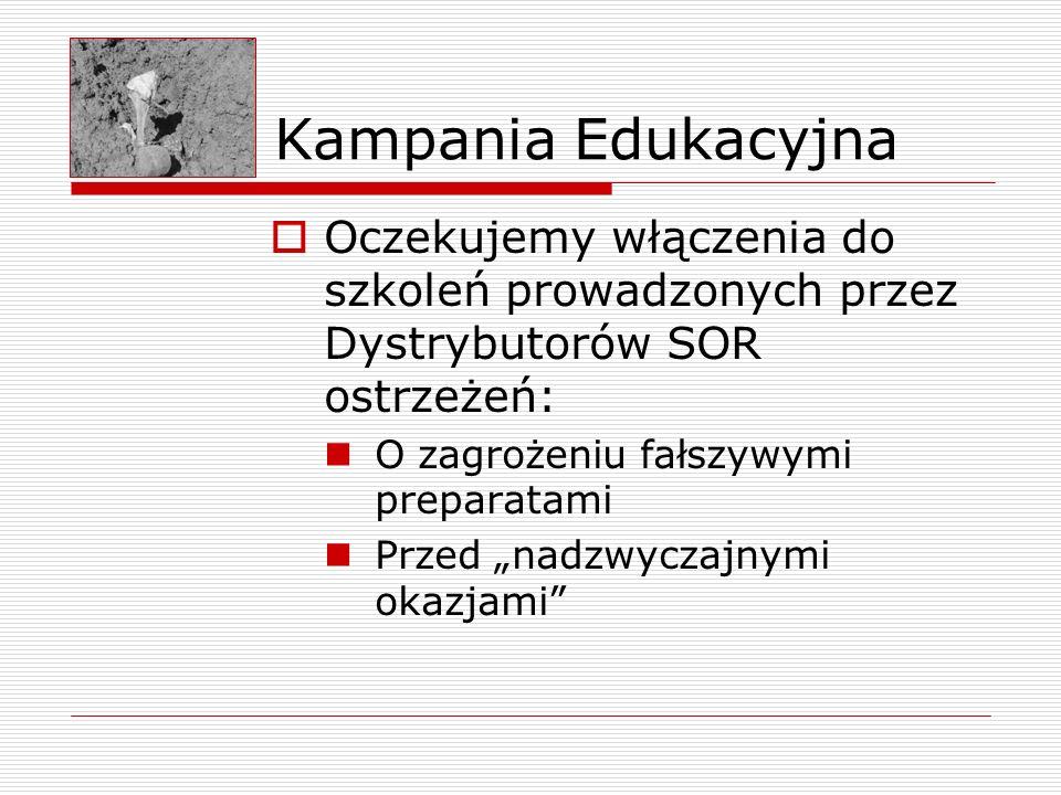 Kampania Edukacyjna Oczekujemy włączenia do szkoleń prowadzonych przez Dystrybutorów SOR ostrzeżeń: