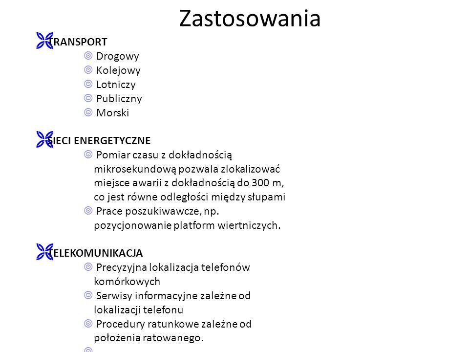 ZastosowaniaTRANSPORT  Drogowy  Kolejowy  Lotniczy  Publiczny  Morski.
