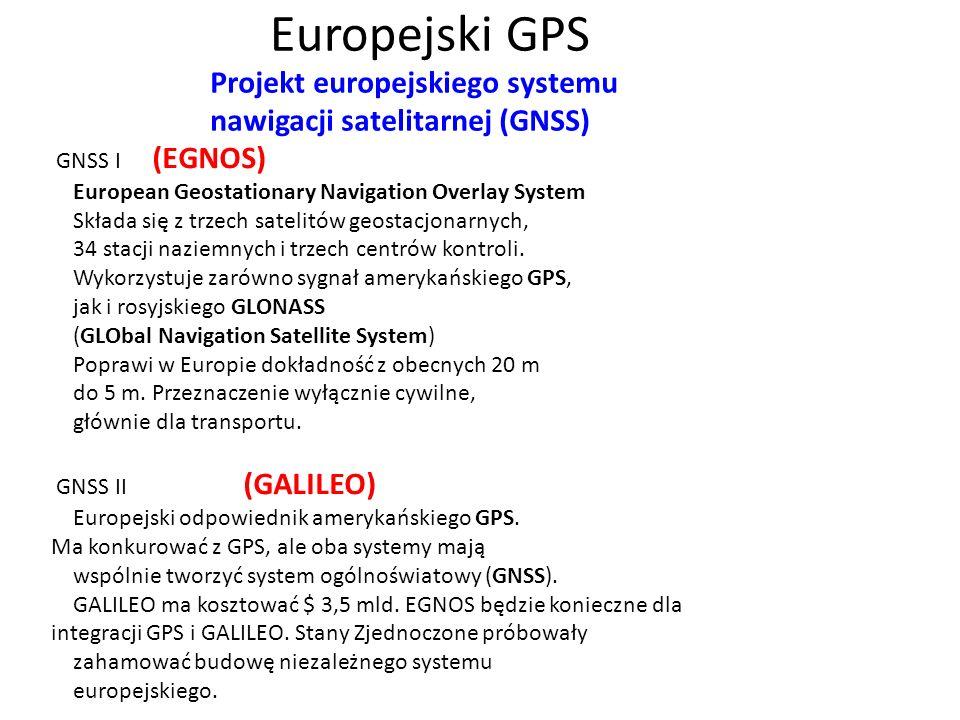 Europejski GPS Projekt europejskiego systemu nawigacji satelitarnej (GNSS)
