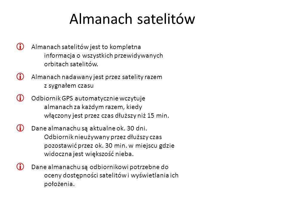 Almanach satelitówAlmanach satelitów jest to kompletna informacja o wszystkich przewidywanych orbitach satelitów.