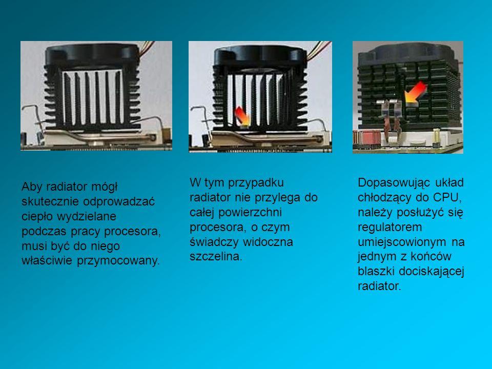 W tym przypadku radiator nie przylega do całej powierzchni procesora, o czym świadczy widoczna szczelina.