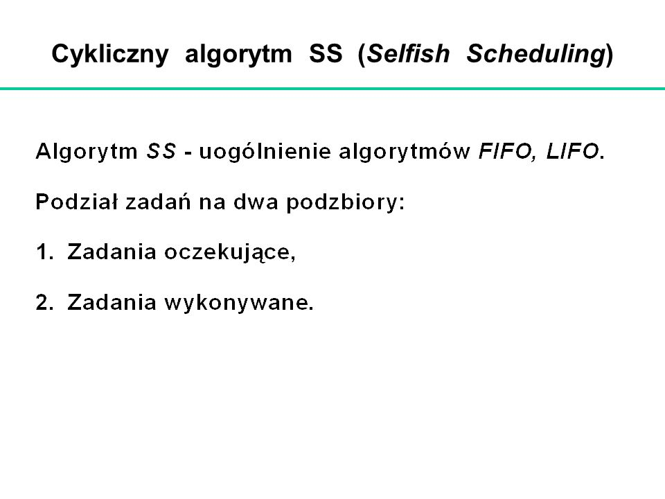 Cykliczny algorytm SS (Selfish Scheduling)