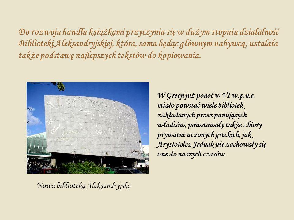 Do rozwoju handlu książkami przyczynia się w dużym stopniu działalność Biblioteki Aleksandryjskiej, która, sama będąc głównym nabywcą, ustalała także podstawę najlepszych tekstów do kopiowania.