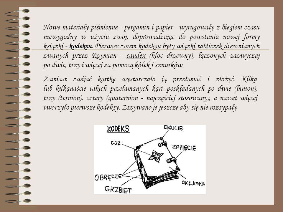 Nowe materiały piśmienne - pergamin i papier - wyrugowały z biegiem czasu niewygodny w użyciu zwój, doprowadzając do powstania nowej formy książki - kodeksu. Pierwowzorem kodeksu były wiązki tabliczek drewnianych zwanych przez Rzymian - caudex (kloc drzewny), łączonych zazwyczaj po dwie, trzy i więcej za pomocą kółek i sznurków