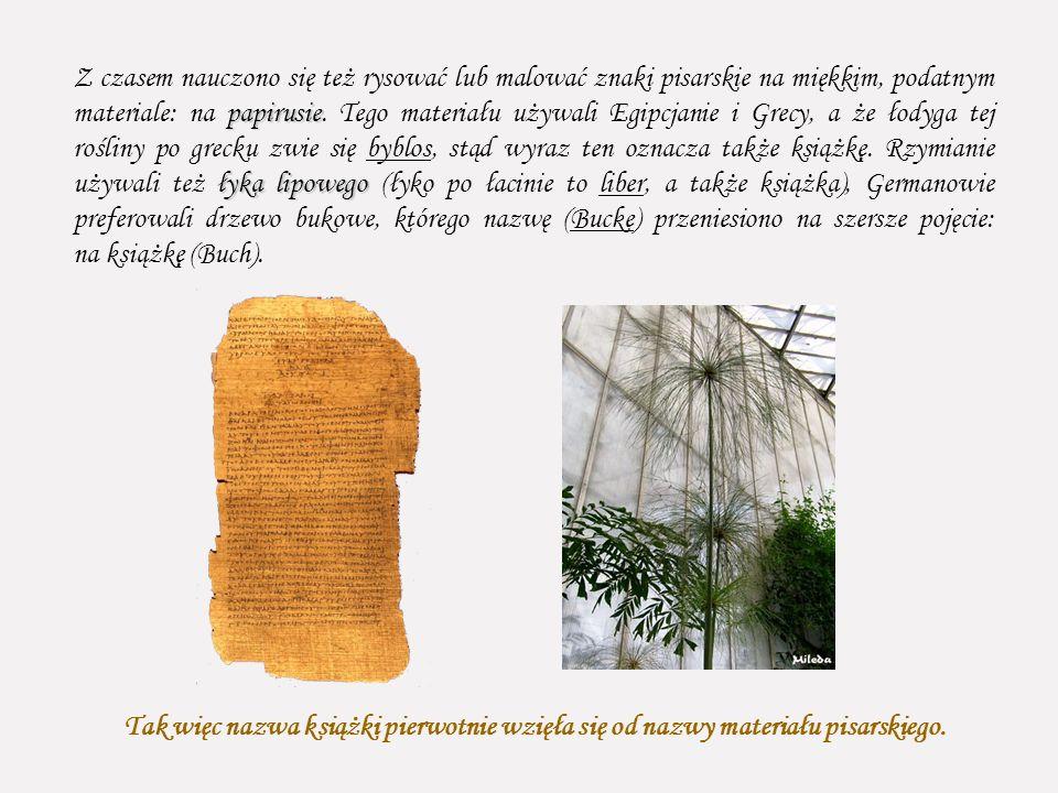 Z czasem nauczono się też rysować lub malować znaki pisarskie na miękkim, podatnym materiale: na papirusie. Tego materiału używali Egipcjanie i Grecy, a że łodyga tej rośliny po grecku zwie się byblos, stąd wyraz ten oznacza także książkę. Rzymianie używali też łyka lipowego (łyko po łacinie to liber, a także książka), Germanowie preferowali drzewo bukowe, którego nazwę (Bucke) przeniesiono na szersze pojęcie: na książkę (Buch).