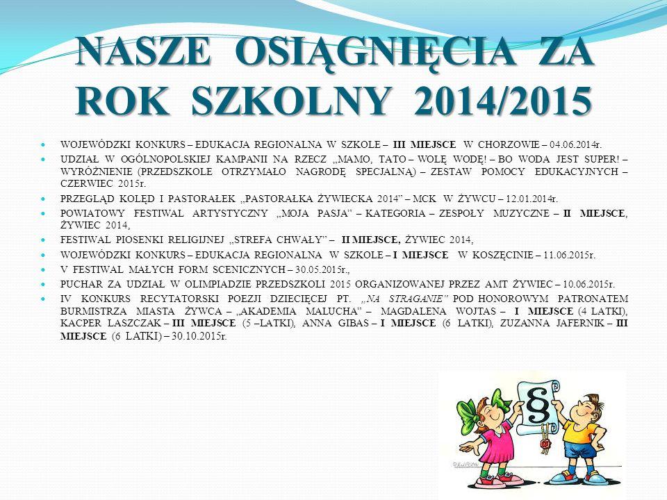 NASZE OSIĄGNIĘCIA ZA ROK SZKOLNY 2014/2015