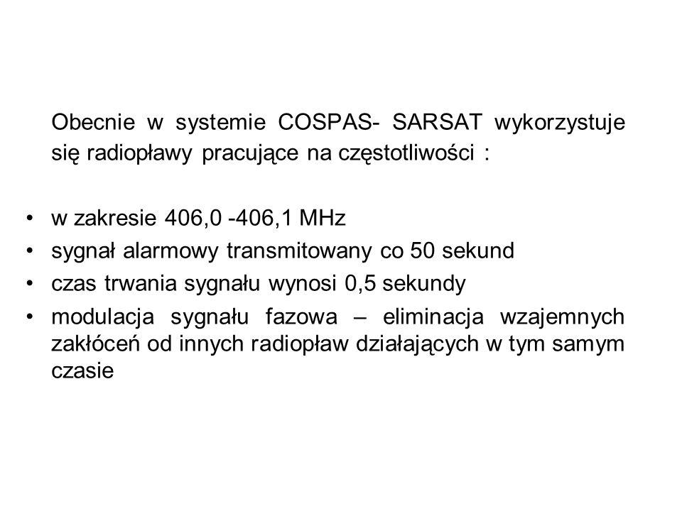 Obecnie w systemie COSPAS- SARSAT wykorzystuje się radiopławy pracujące na częstotliwości :