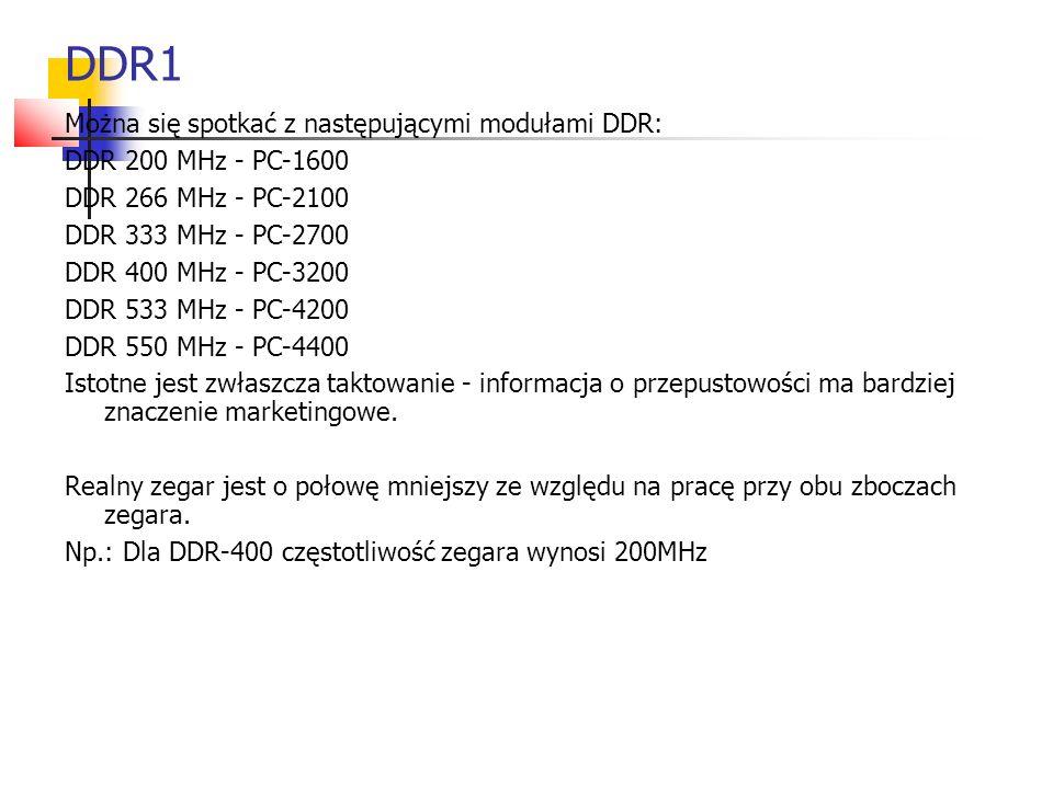 DDR1 Można się spotkać z następującymi modułami DDR: