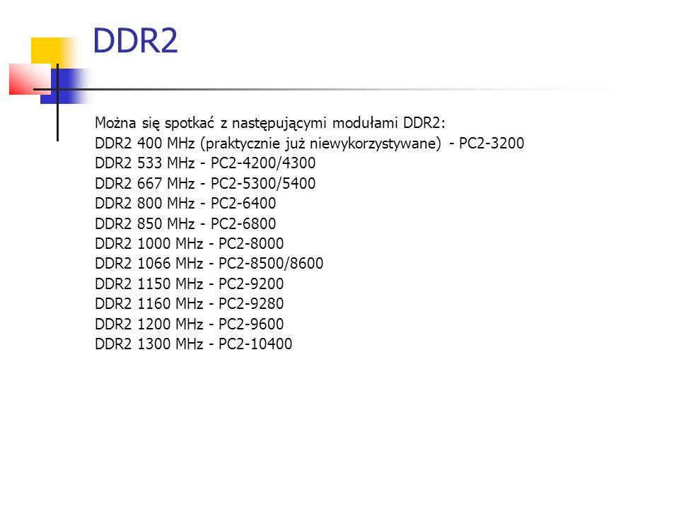 DDR2 Można się spotkać z następującymi modułami DDR2: