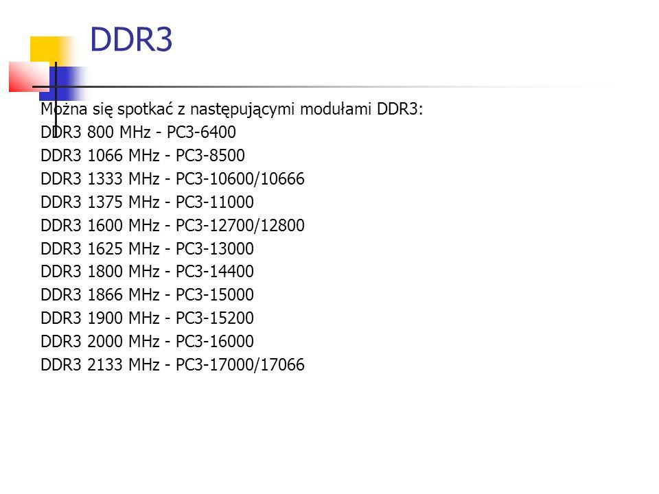 DDR3 Można się spotkać z następującymi modułami DDR3: