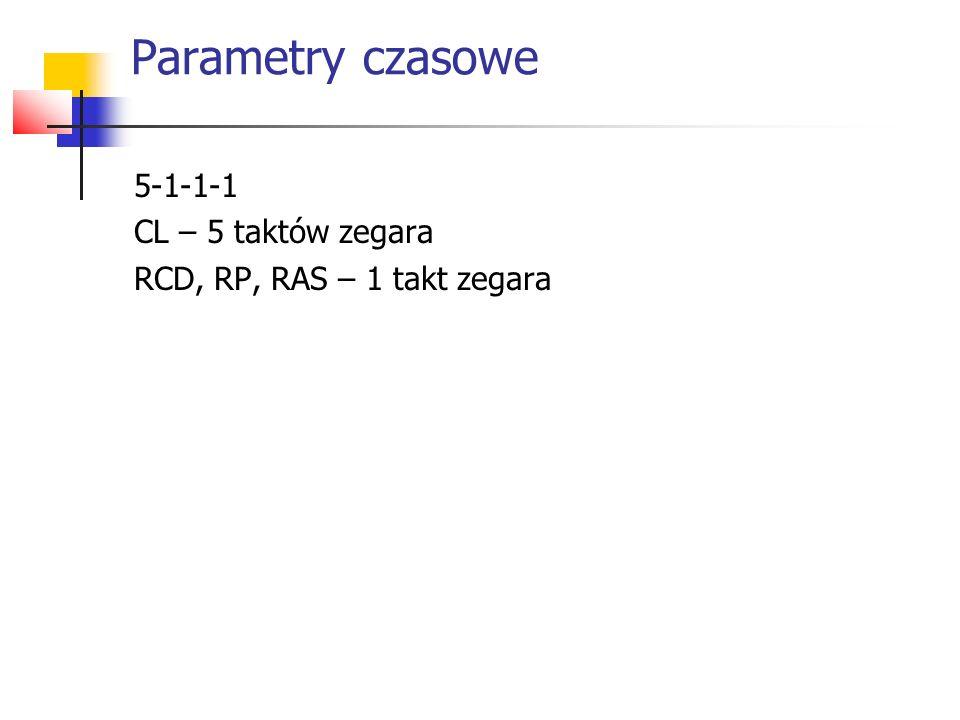 Parametry czasowe 5-1-1-1 CL – 5 taktów zegara
