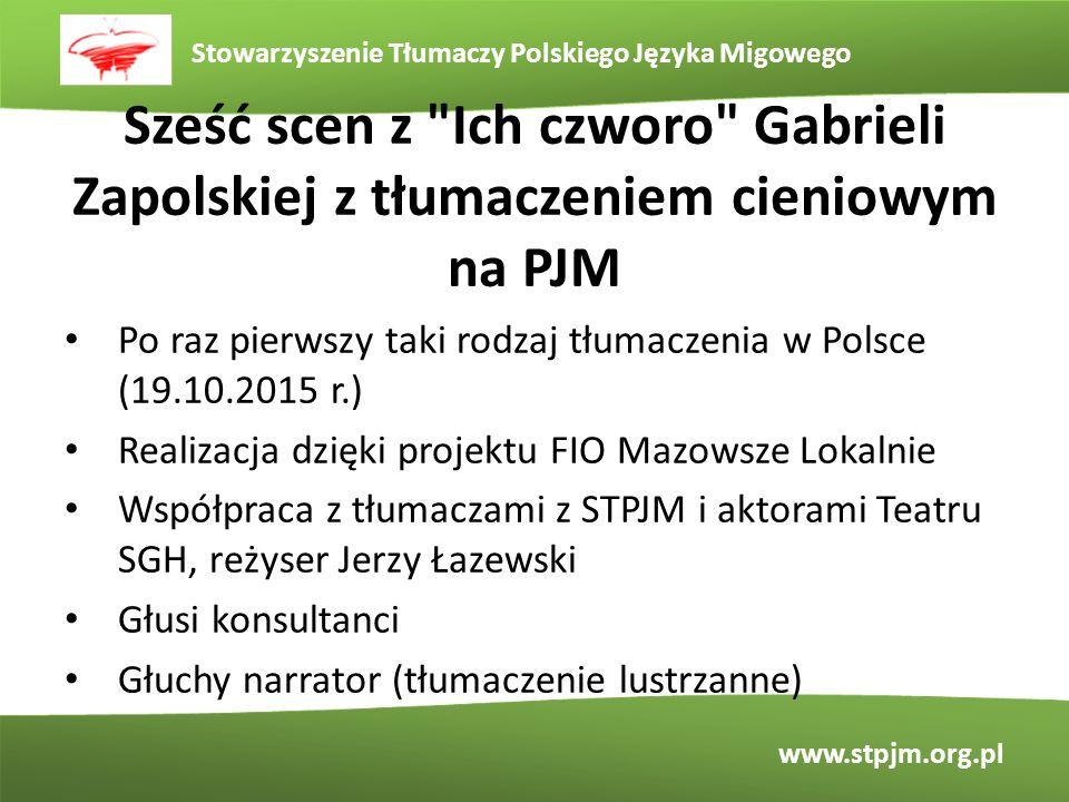 Sześć scen z Ich czworo Gabrieli Zapolskiej z tłumaczeniem cieniowym na PJM