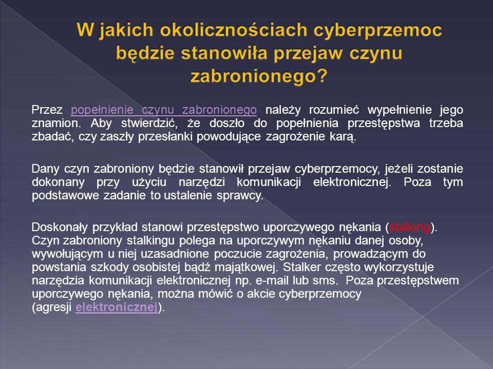 W jakich okolicznościach cyberprzemoc będzie stanowiła przejaw czynu zabronionego