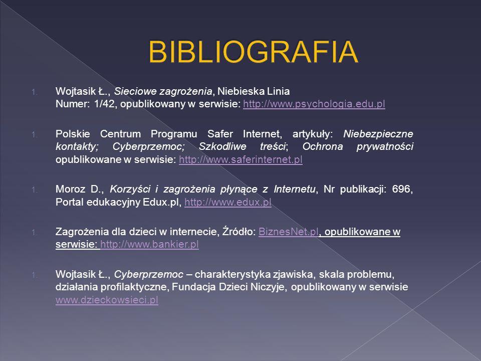 BIBLIOGRAFIA Wojtasik Ł., Sieciowe zagrożenia, Niebieska Linia Numer: 1/42, opublikowany w serwisie: http://www.psychologia.edu.pl.