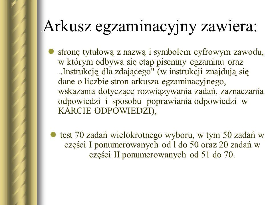 Arkusz egzaminacyjny zawiera: