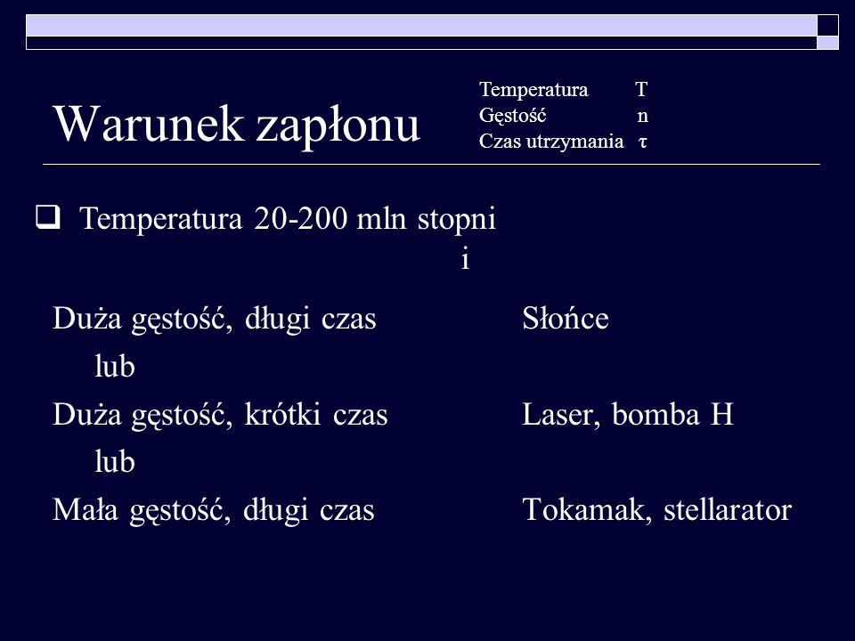 Warunek zapłonu Temperatura 20-200 mln stopni