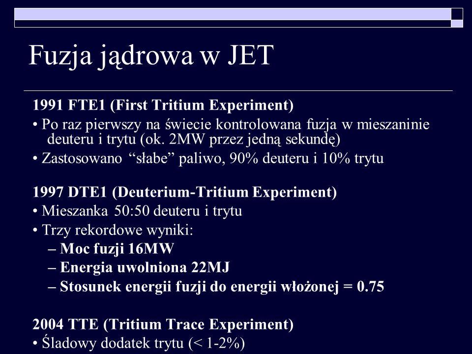Fuzja jądrowa w JET 1991 FTE1 (First Tritium Experiment)