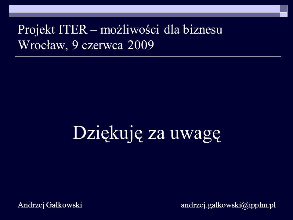 Projekt ITER – możliwości dla biznesu Wrocław, 9 czerwca 2009