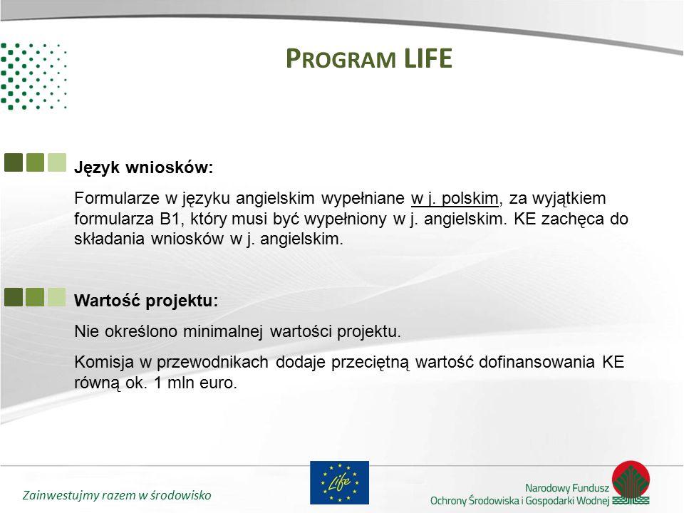 Program LIFE Język wniosków: