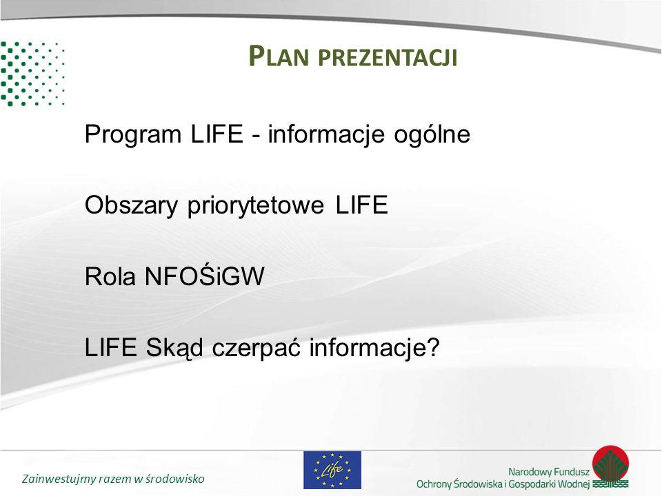 Plan prezentacji Program LIFE - informacje ogólne Obszary priorytetowe LIFE Rola NFOŚiGW LIFE Skąd czerpać informacje.