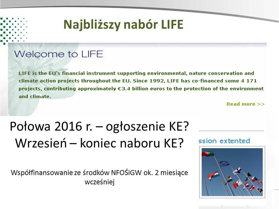 Połowa 2016 r. – ogłoszenie KE Wrzesień – koniec naboru KE