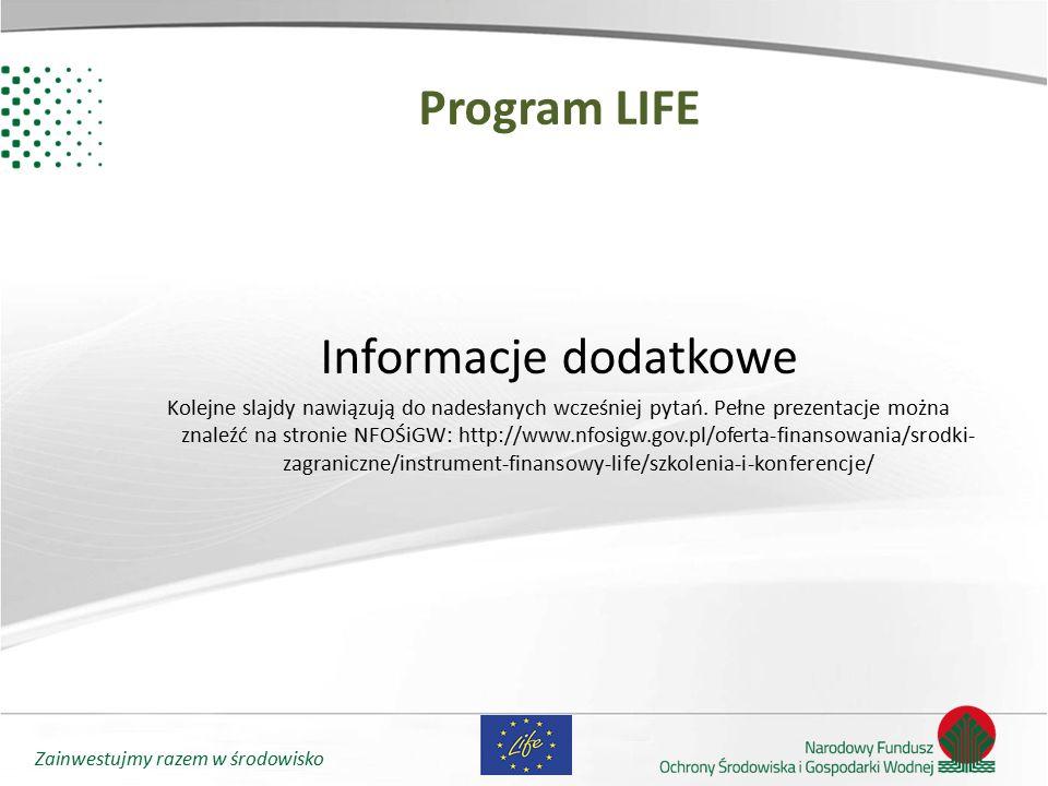 Program LIFE Informacje dodatkowe
