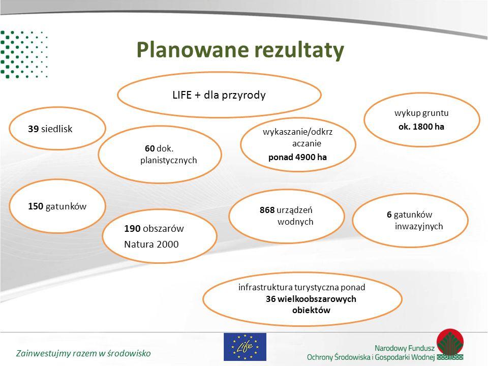 Planowane rezultaty LIFE + dla przyrody 39 siedlisk 190 obszarów